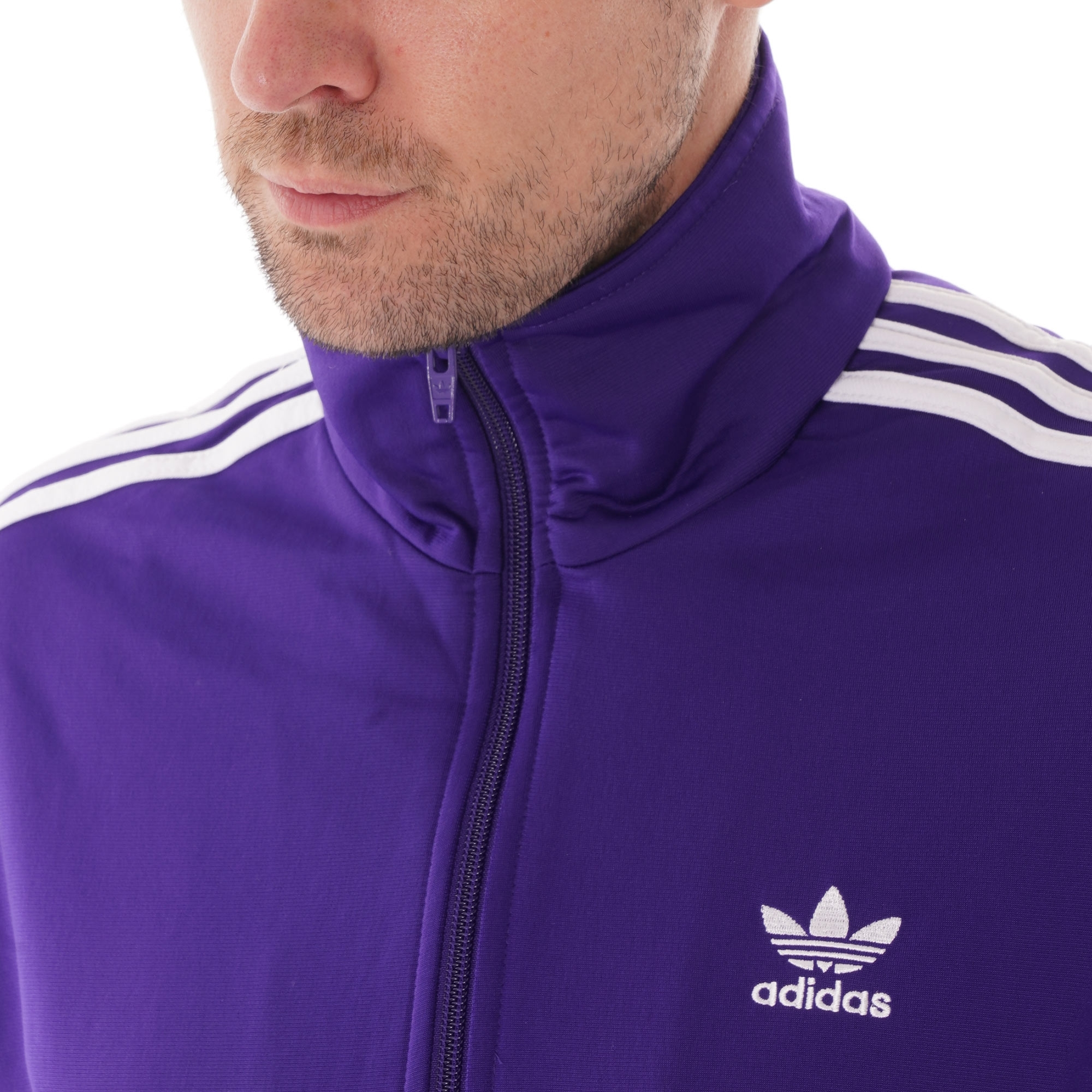 Details about Adidas Track Jacket Firebird Purple Trefoil Logo Black 3 Stripe Retro Size L