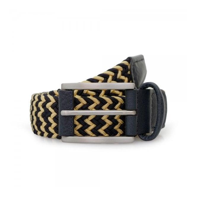 Anderson's Belts Anderson Woven Navy Champagne Belt B0667 AF2949 NE41 BL