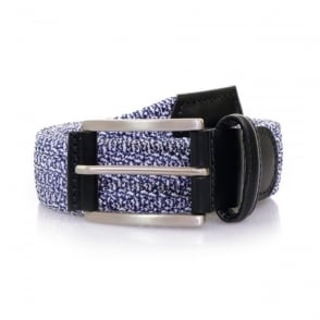 Anderson's Blue Leather Trimmed Elasticated Woven Belt AF2949