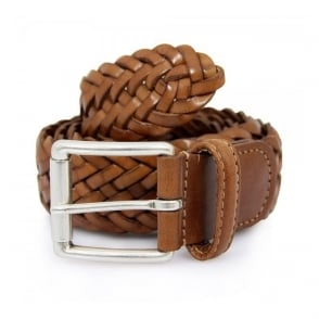 Andersons Braided Mustard Leather Belt A1097