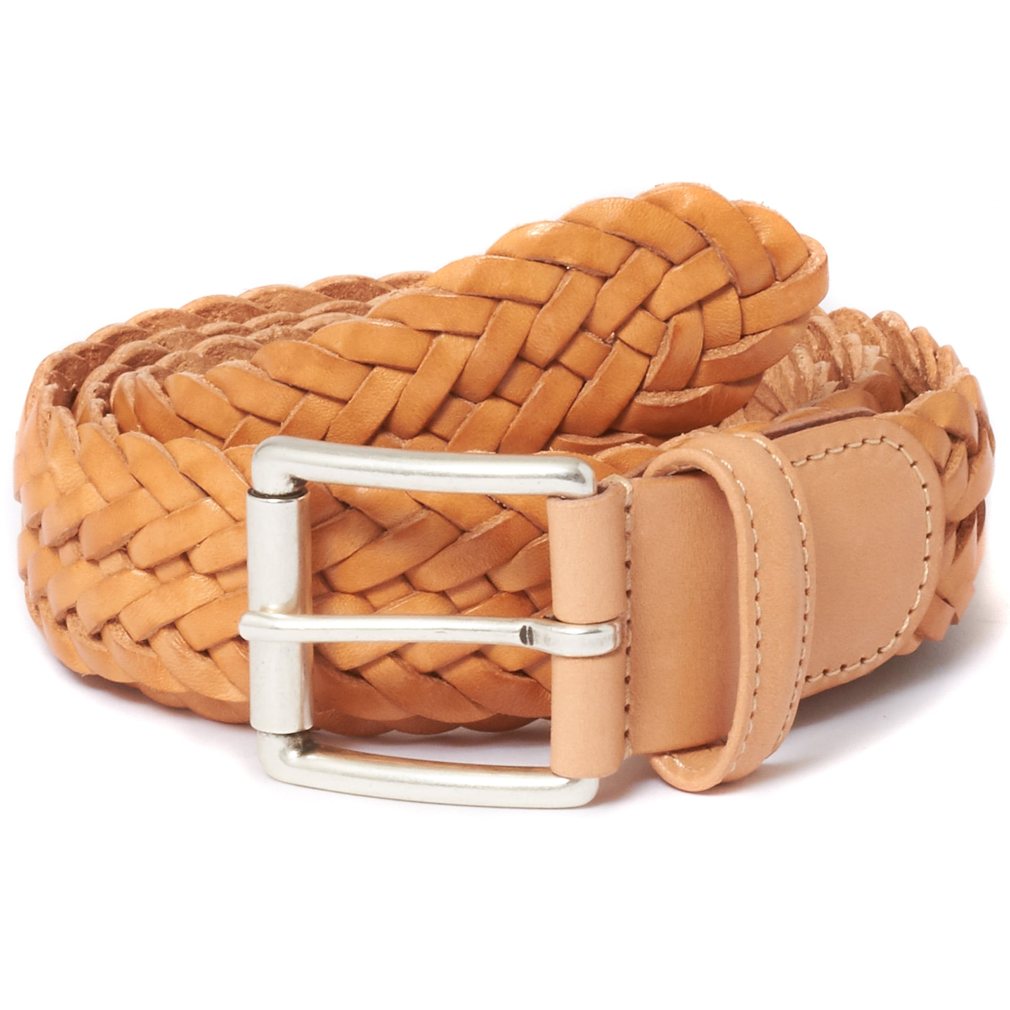 Anderson S Belts For Men Braided Tan Leather Belt