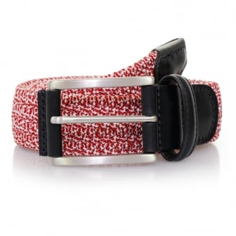 Anderson's Red Leather Trimmed Elasticated Woven Belt