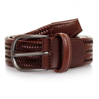 Anderson's Woven Medium Brown Braided Leather Belt AF2817 C1