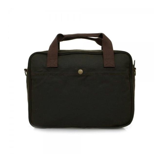Barbour Accessories Barbour Wax Longthorpe Laptop Olive Briefcase UBA0360OL71