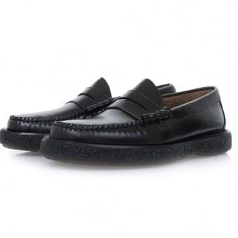 Bass Weejuns Larson Moc Penny Crepe Black Leather Shoes BA1121000