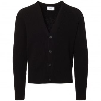 Black Fisherman Knit Cardigan