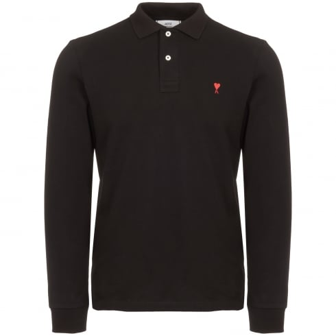 AMI Black Long Sleeve de Coeur Polo Shirt