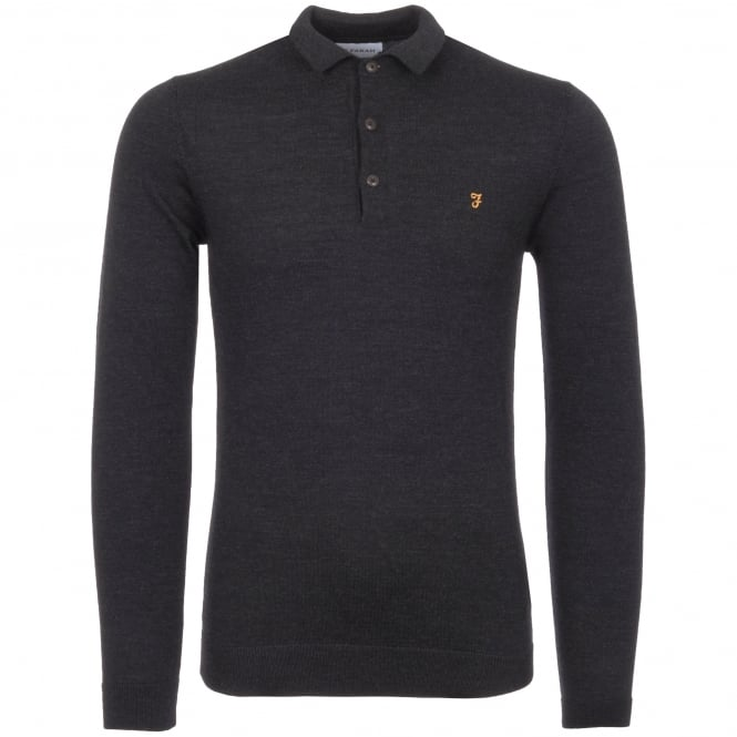 Farah Vintage Black Maidwell Knitted Polo Shirt