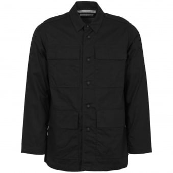 Black Oxford Military Shirt Jacket