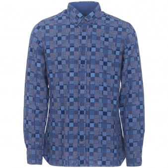 Blue Patchwork Weave Shirt