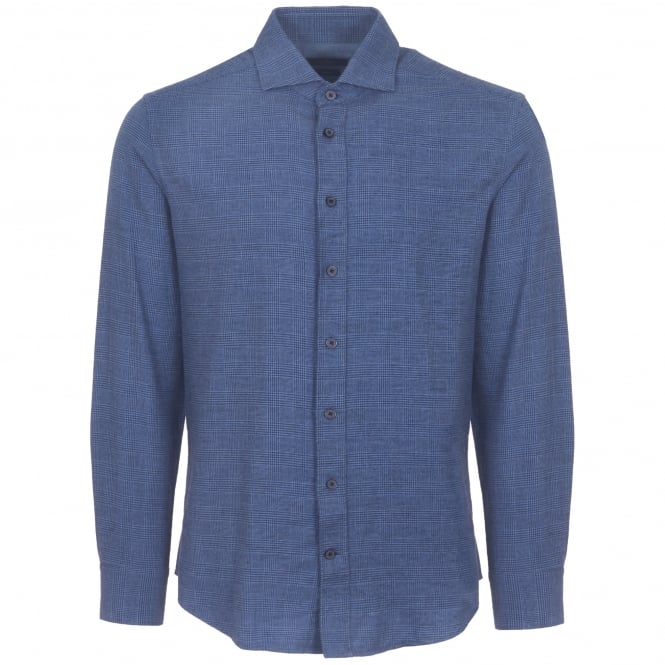 Hackett London Blue Prince of Wales Flannel Shirt