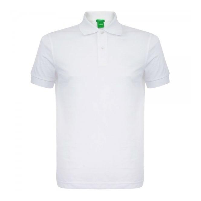 Boss Green C-Firenze Logo White Pique Polo Shirt 50292333