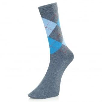 Burlington King Light Denim Argyle Socks 21020 6660