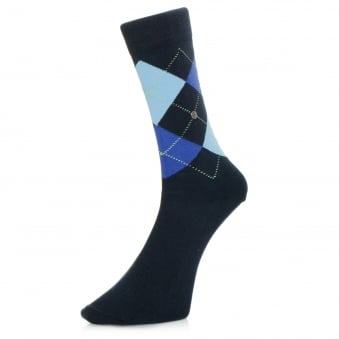 Burlington King Navy Argyle Socks 21020 6121