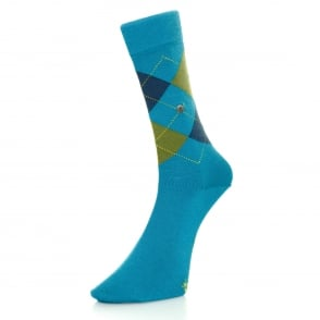 Burlington Manchester Turquoise Argyle Socks 20182730T