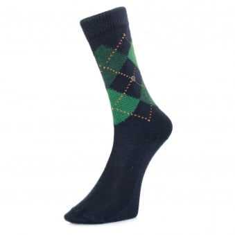 Burlington Preston Argyle Dark Blue Socks 24284 6187