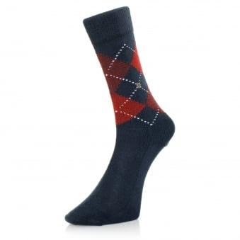 Burlington Preston Argyle Deep Navy Socks 242846155