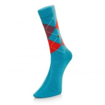 Burlington Preston Argyle Sea Blue Socks 24284730S