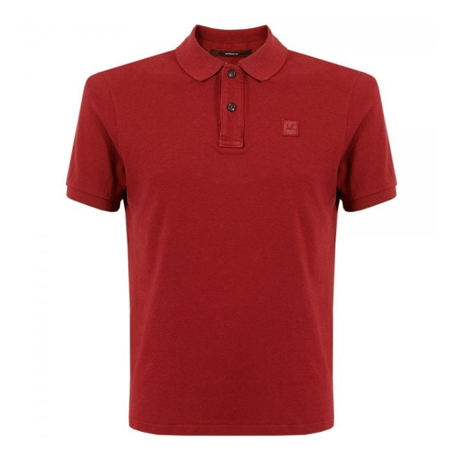 CP Company Deep Red Pique Polo Shirt 15WCPUT02697