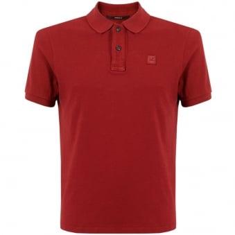 CP Company Deep Red Pique Polo Shirt 15WCPUT02697