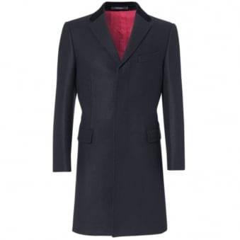 Crombie Navy Retro Wool Coat 3251B