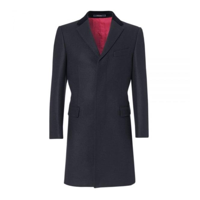Crombie Navy Retro Wool Coat 3254N