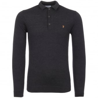 Dark Asphalt Maidwell Knitted Polo Shirt