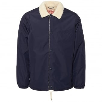 Dress Blue Sherpa Coach Jacket