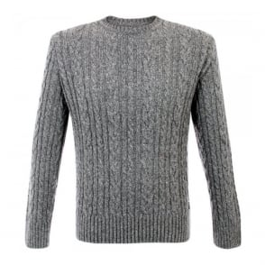 Edwin Oiler Grey Marl Cable Knit Jumper 1453808