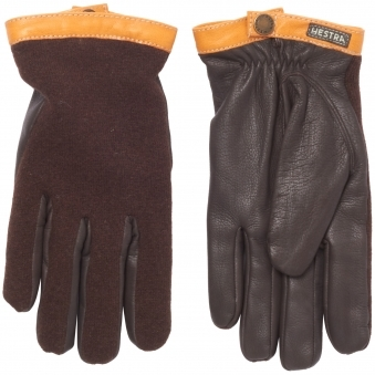 Espresson & Dark Brown Deerskin Wool Tricot Gloves