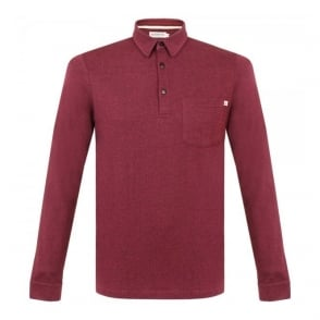 Farah Vintage Wallingham Deep Red LS Polo Shirt F9KF5020