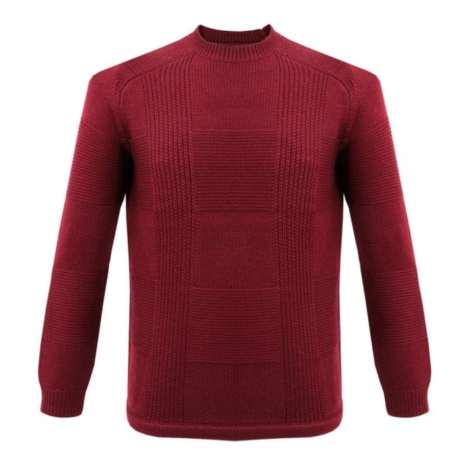 Folk Clothing Folk Check Knit Burgundy Wool Jumper F2431K