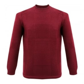 Folk Check Knit Burgundy Wool Jumper F2431K