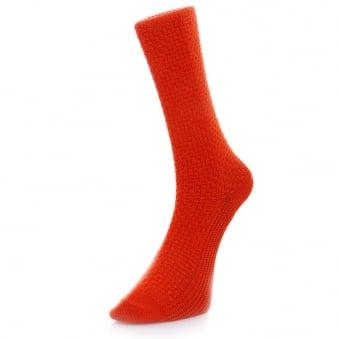 Folk Red Waffle Socks F25104A