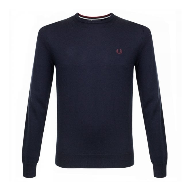 Fred Perry Authentic Fred Perry Classic Merino Wool Dark Carbon Jumper K7211