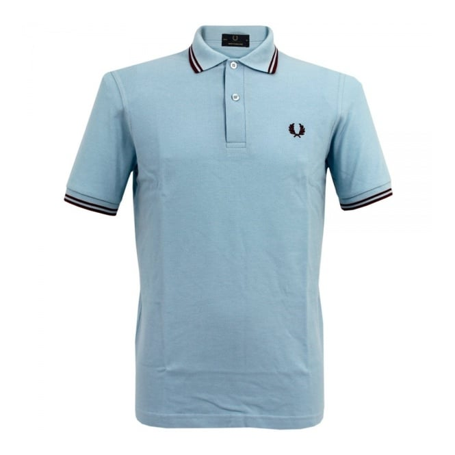 Fred Perry Laurel Wreath Fred Perry Laurel Twin Tipped Ice Blue Polo Shirt M12 400