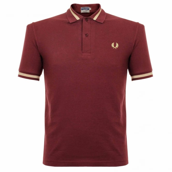Fred Perry Laurel Wreath Fred Perry Single Tipped Aubergine Pique Polo Shirt M2 472