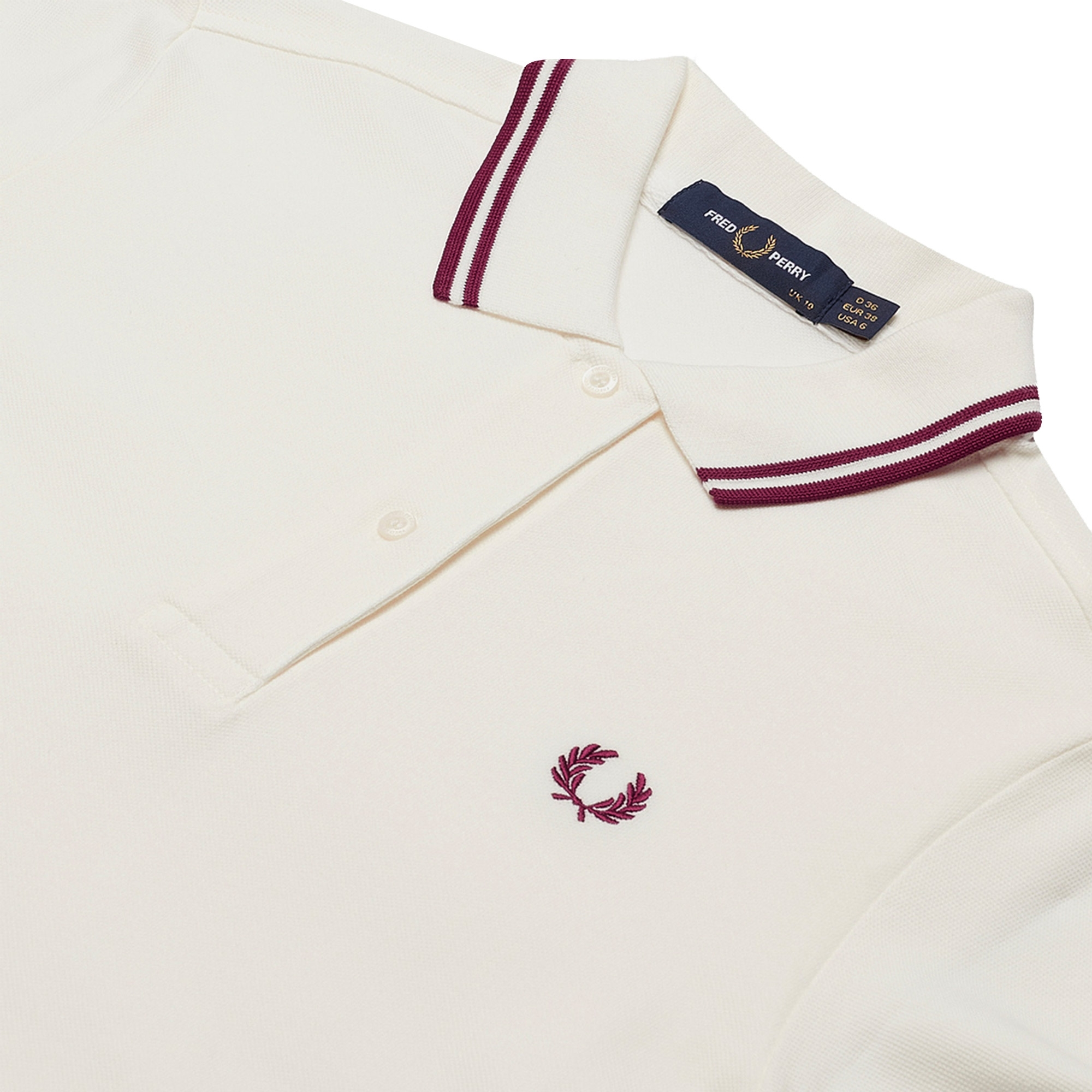Fred Perry Womens Twin Tipped Polo Shirt Dress - Snow White