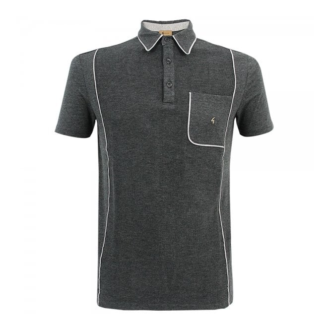 Gabicci Vintage 1973 Gabicci Patterned Dark Grey Polo Shirt V33GX13