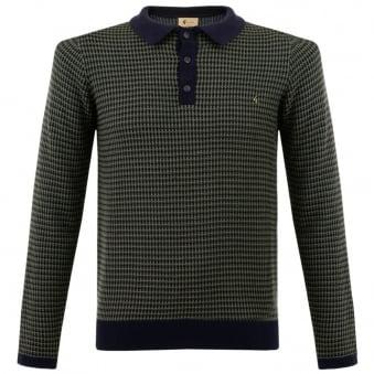 Gabicci Patterned Knit Navy Polo Shirt V35GM06