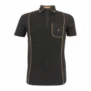 Gabicci Vintage Piping Black Polo Shirt V31GX20