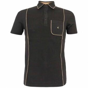 Gabicci Vintage Piping Black Polo Shirt V31GX20