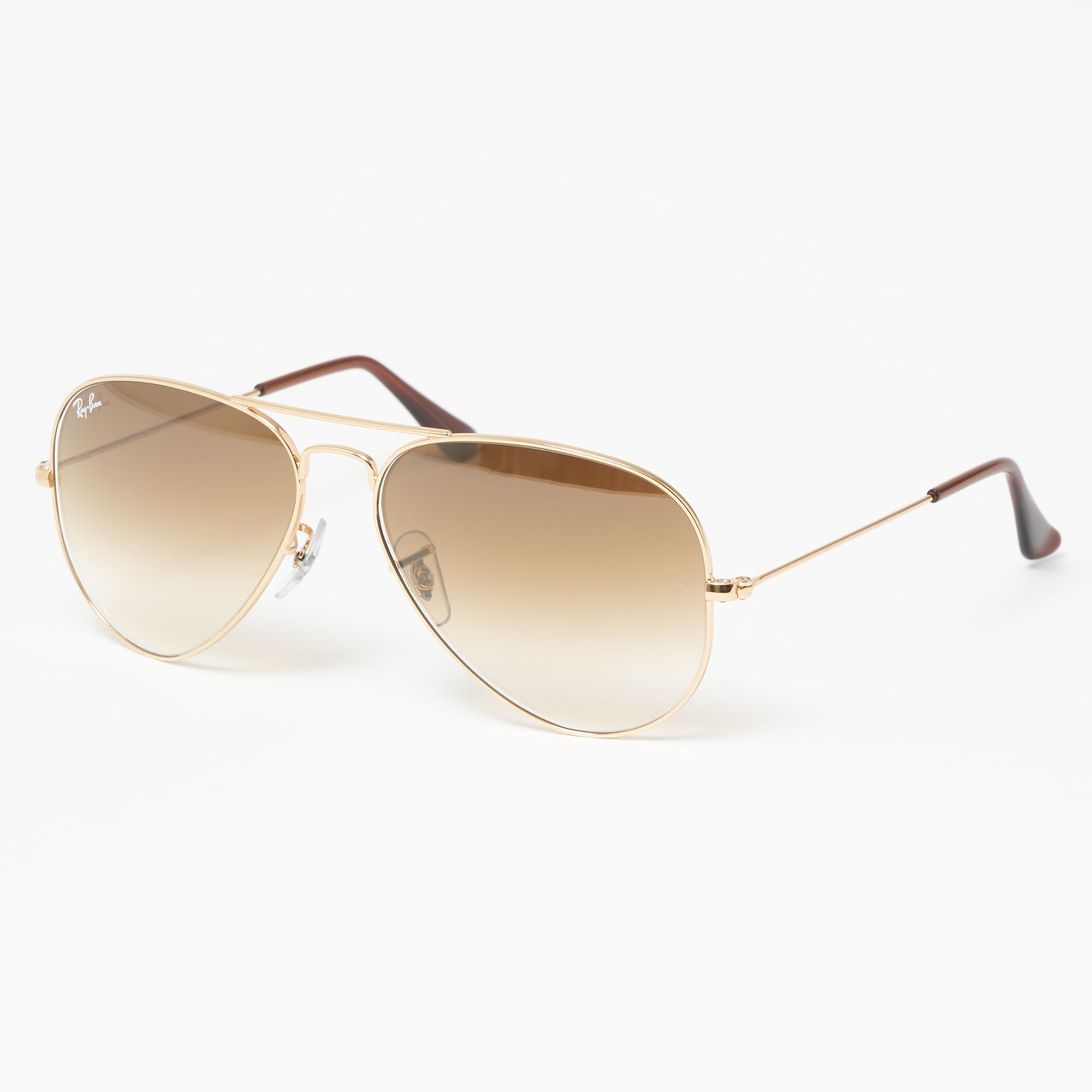 4aa0bafe28585 Gold Aviator Gradient Sunglasses - Light Brown Gradient Lenses