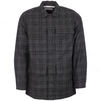 Grey Check Military Shirt Jacket