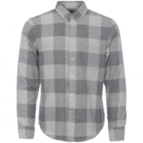 Naked and Famous Denim Grey Dobby Buffalo Check Shirt