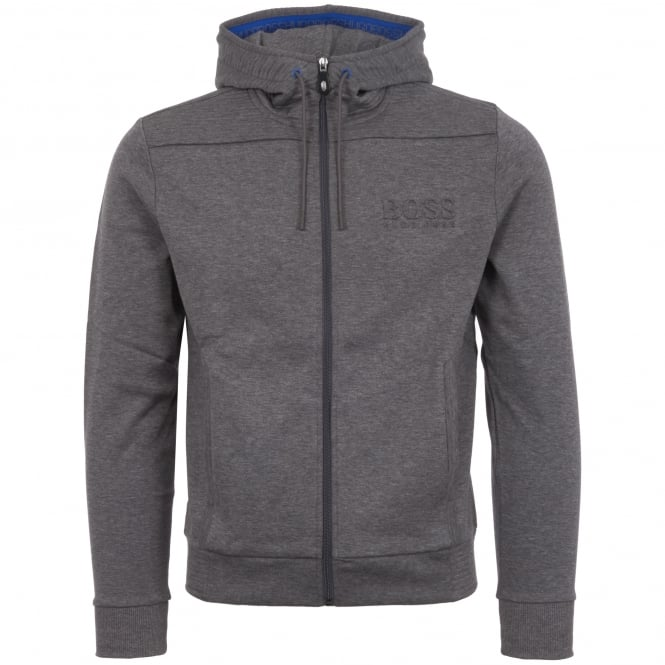 Boss Green Grey Ribbed Detailing Zipped Hoodie