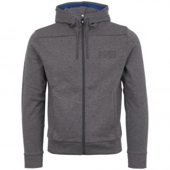 Grey Ribbed Detailing Zipped Hoodie