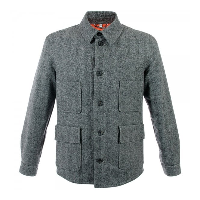 Hardy Amies Herringbone Light Grey Wool Jacket 356LG