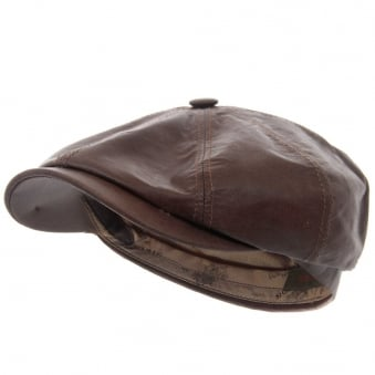 Hatteras Lambskin Newsboy Cap- Brown