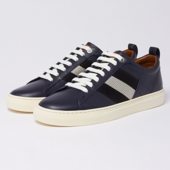 Helvio Leather Trainers - Ink
